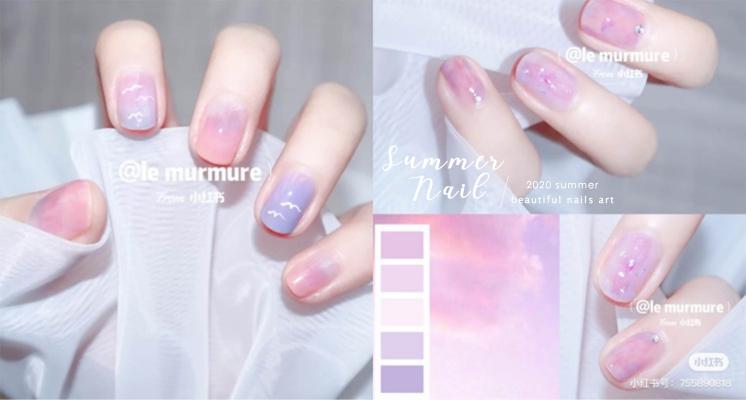 小仙女專屬!小紅書上爆紅「糖霜粉紫色」美甲,夢幻的夏日天空漸層實在美翻了~